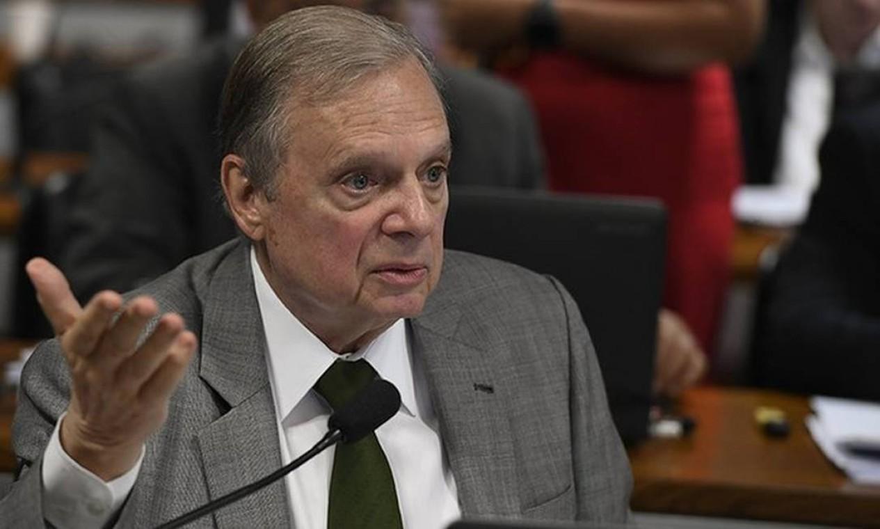 Senador Tasso Jereissati se colocou como opção do PSDB para a Presidência em 2022 e ganhou o apoio do ex-presidente Fernando Henrique Cardoso Foto: Edilson Rodrigues/Agência Senado