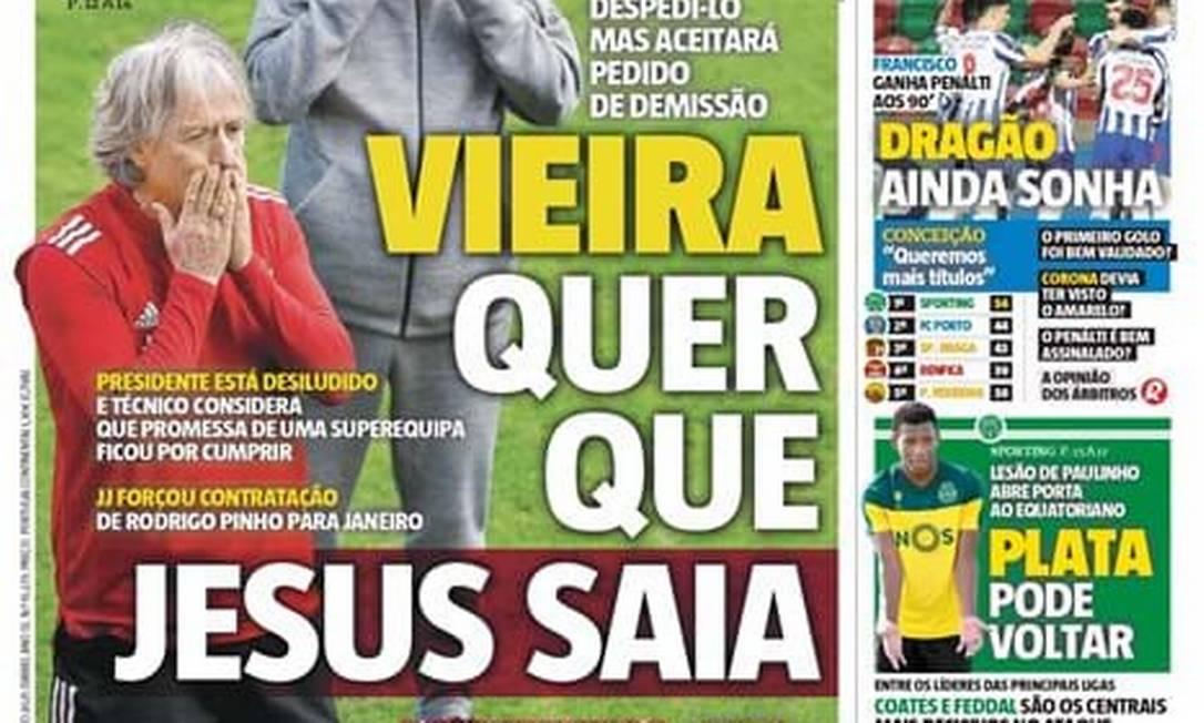 Jornal português: presidente quer saída de Jesus do Benfica Foto: Reprodução/Record