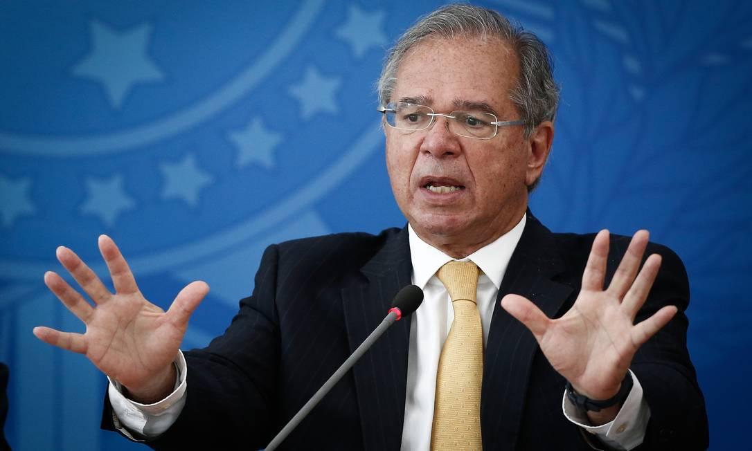 O ministro da Economia, Paulo Guedes, em evento no Palácio do Planalto Foto: Pablo Jacob / Agência O Globo/05-02-2021