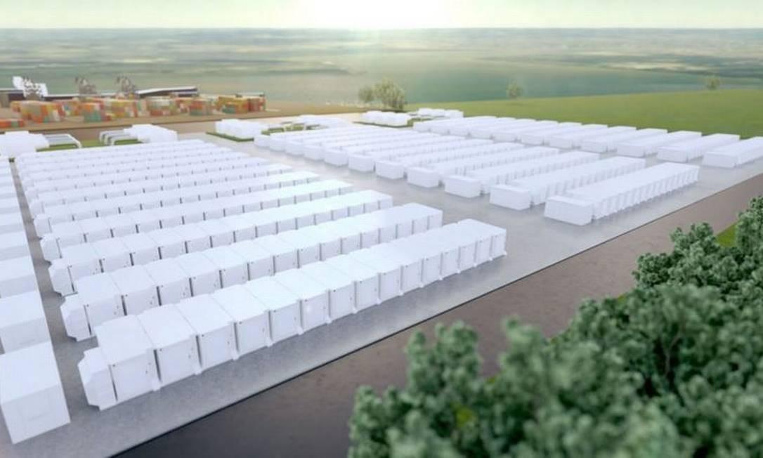 Representação do que será a maior instalação de armazenamento de bateria do Reino Unido, com 320 megawatts de capacidade Foto: Intergen