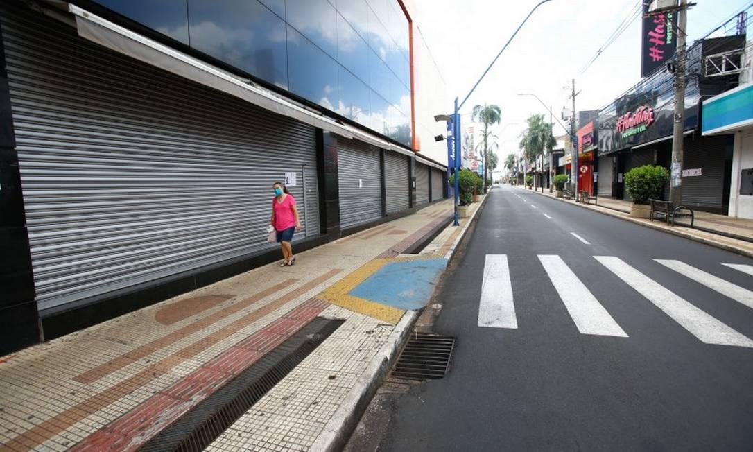 Araraquara durante o lockdown realizado para frear o avanço do coronavírus Foto: Fotoarena / Agência O Globo