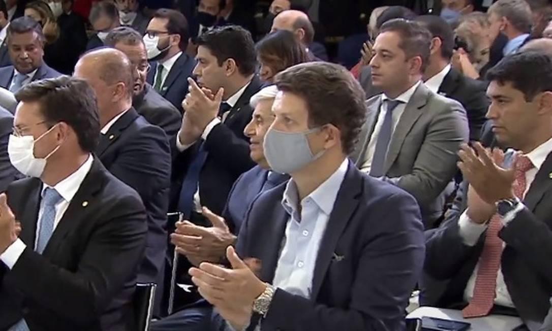 O ministro do Meio Ambiente, Ricardo Salles, participa de cerimônia no Palácio do Planalto Foto: Reprodução/TV Brasil