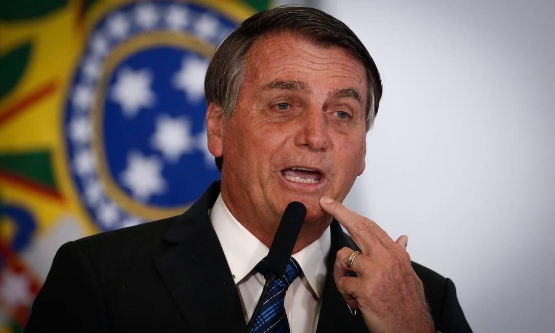 Presidente Jair Bolsonaro em discurso Foto: Pablo Jacob / Agência O Globo