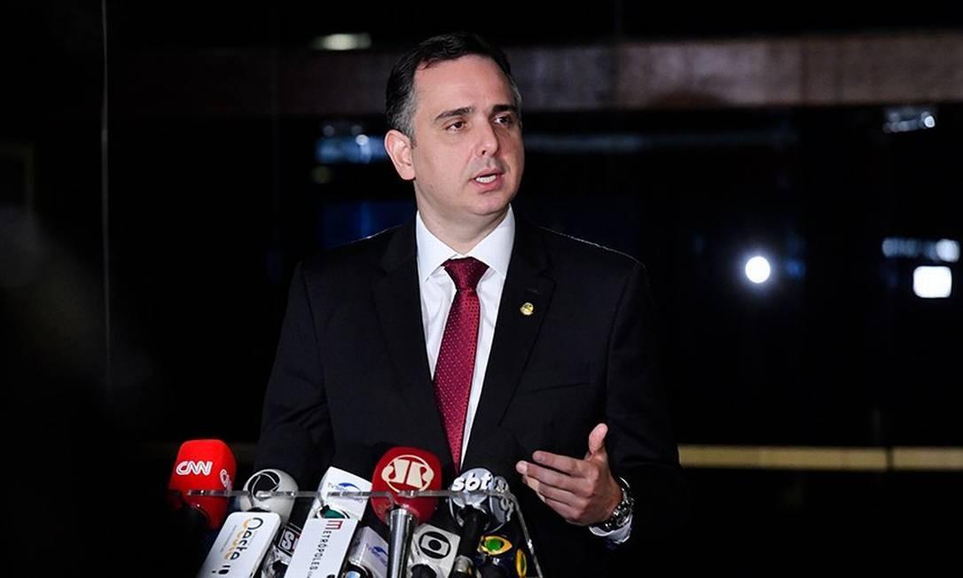 Presidente do Senado, Rodrigo Pacheco (DEM-MG), durante coletiva de imprensa Foto: Marcos Brandão / Agência Senado