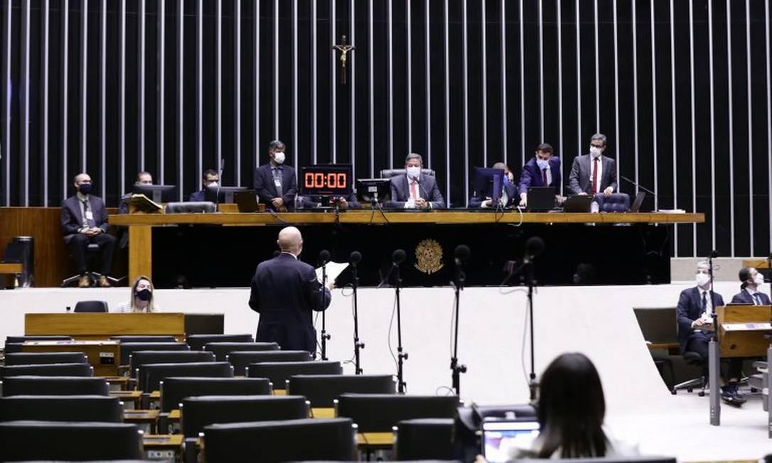 Sessão da Câmara dos Deputados da semana passada, presidida pelo presidente Arthur Lira (PP-AL) Foto: Najara Araujo / Câmara
