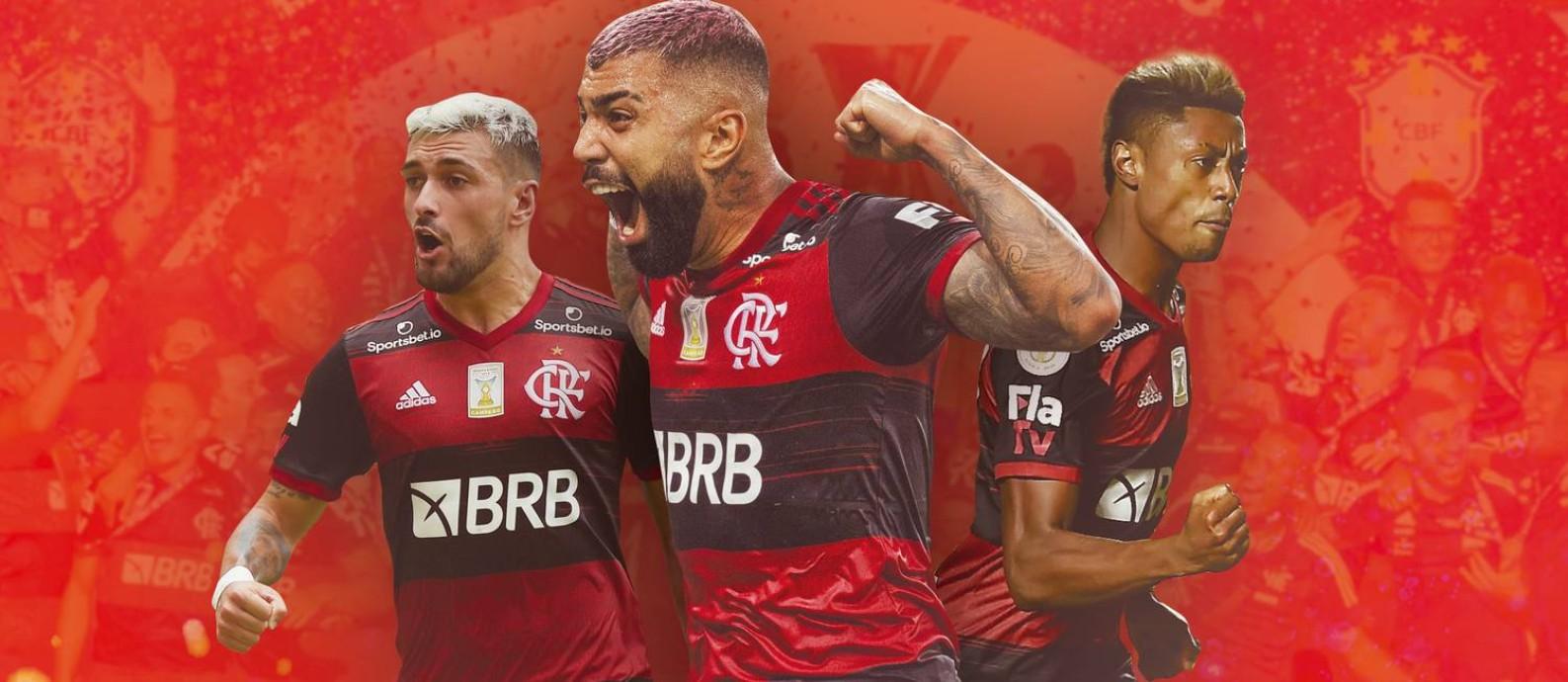 Arrascaeta, Gabigol e Bruno Henrique: craques brilharam em mais um título do Flamengo Foto: Editoria de arte
