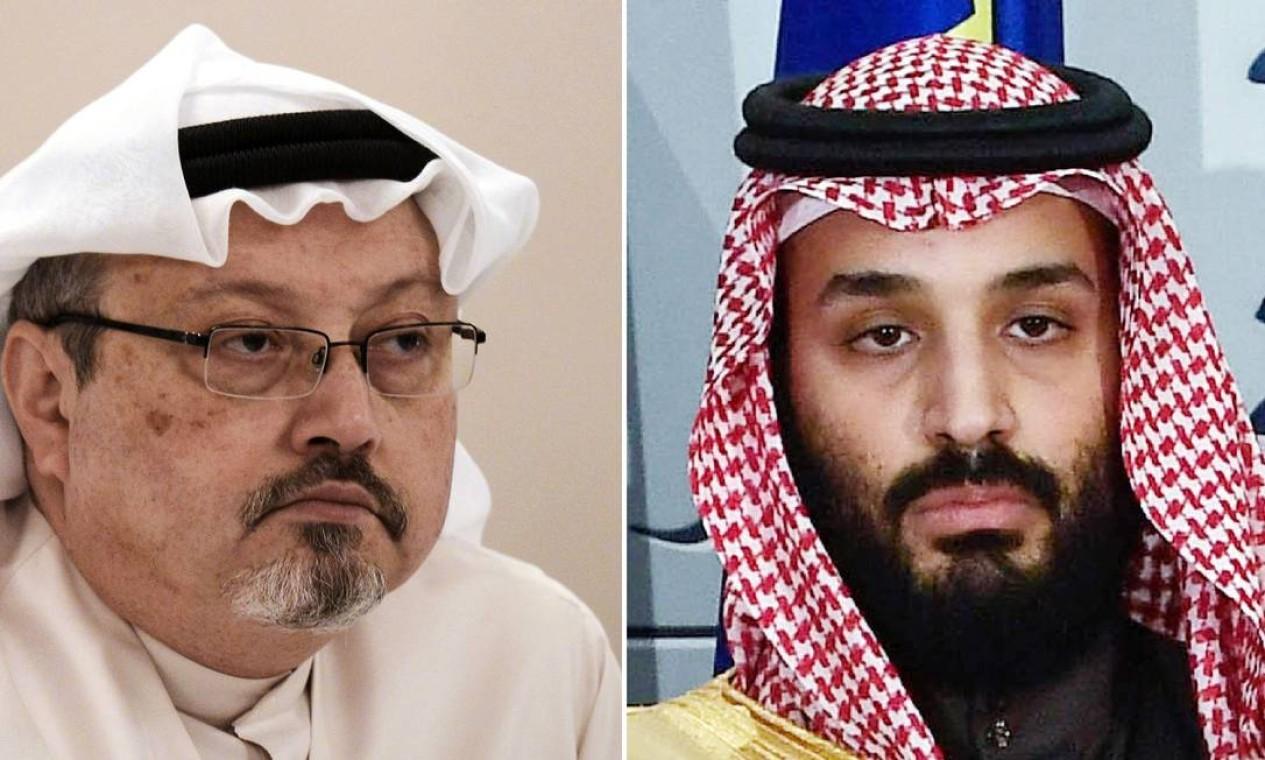 Biden consolida mudança de rumo em política para a Arábia Saudita e pressiona monarquia sobre direitos humanos: relatório da inteligência dos EUA culpa príncipe herdeiro saudita Bin Salman (à direita) por assassinato de jornalista Jamal Khashoggi, morto no consulado saudita em Istambu Foto: AFP/Arquvo