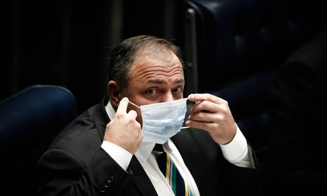 Eduardo Pazuello presta esclarecimentos sobre a atuação do Ministério da Saúde no Senado Foto: Pablo Jacob / Agência O Globo