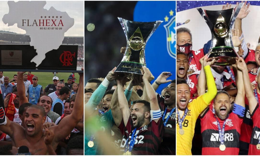 Flamengo em 2009, 2019 e 2020 Foto: Editoria de Arte