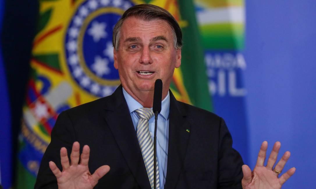 O presidente Jair Bolsonaro participa de cerimônia no Palácio do Planalto Foto: Ueslei Marcelino/Reuters/24-02-2021