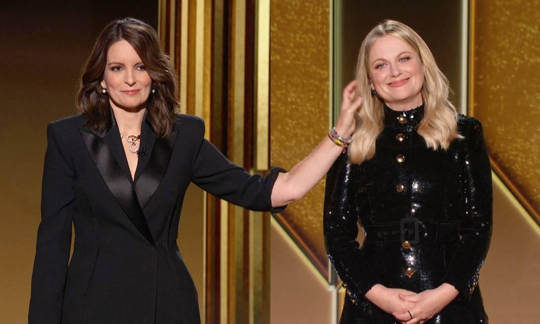 As apresentadores Tina Fey e Amy Poehler tentaram tratar a polêmica com humor Foto: NBCUniversal / AFP