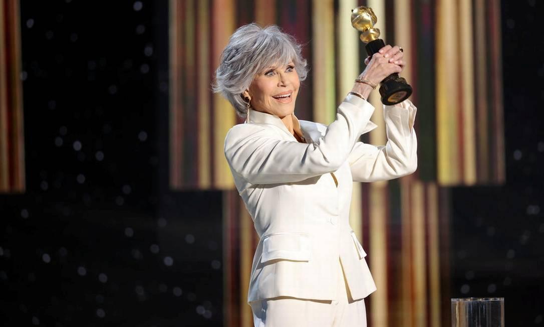 Jane Fonda ao receber o prêmio Cecil B. DeMille pelo conjunto da obra Foto: NBC HANDOUT / via Reuters