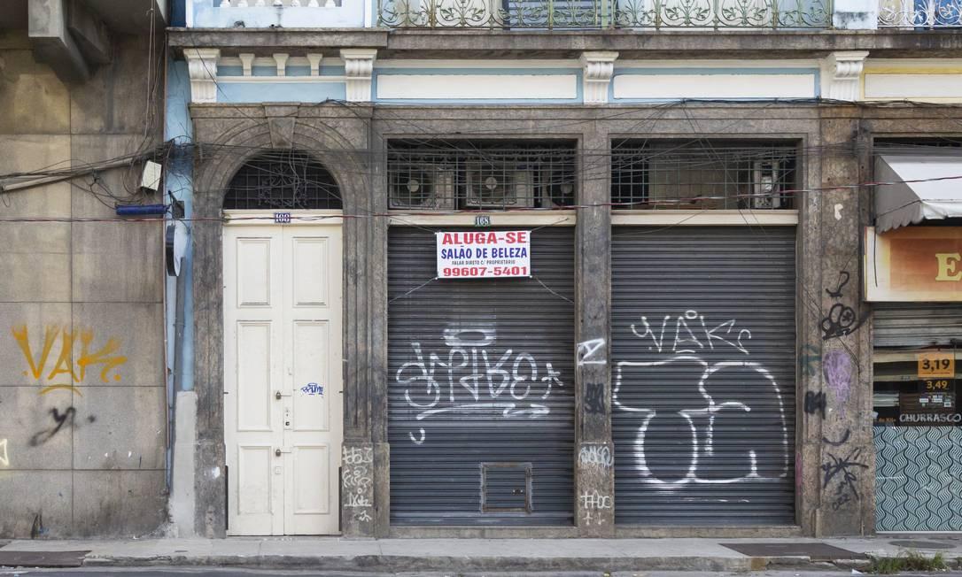 Lojas fechadas no Centro do Rio de Janeiro Foto: Leo Martins/Agência O Globo/01-12-2020