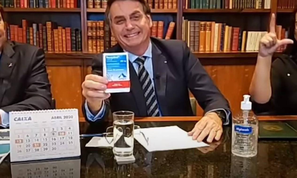 Bolsonaro defendeu o uso de cloroquina em lives Foto: Reprodução