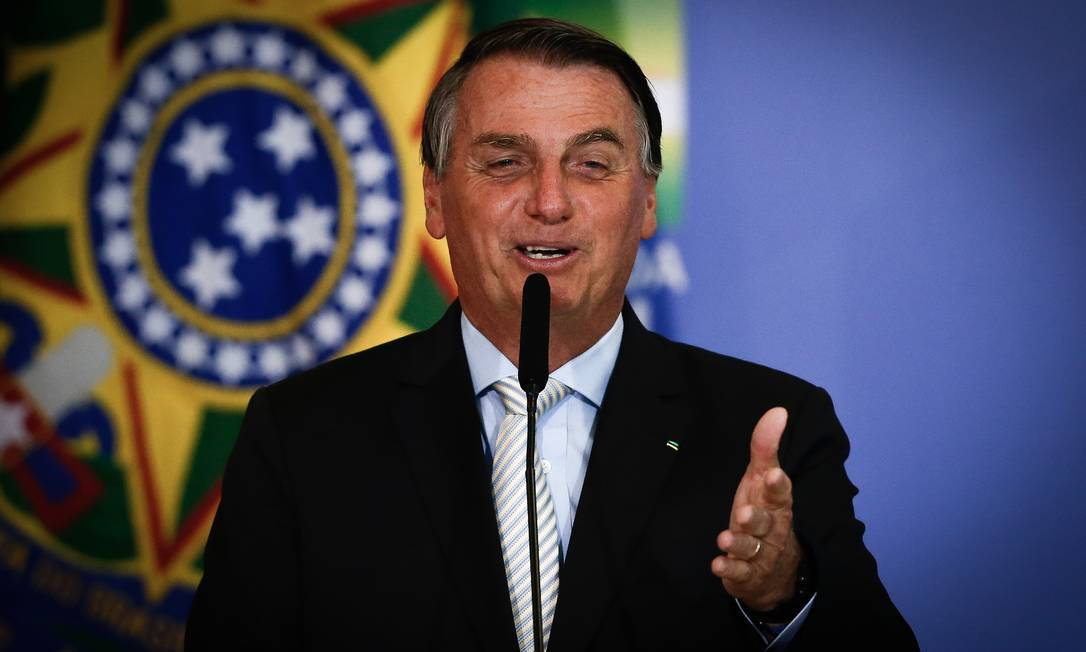 O presidente Jair Bolsonaro em discurso no Palácio do Planalto, no último dia 24 de fevereiro Foto: Pablo Jacob / Agência O Globo