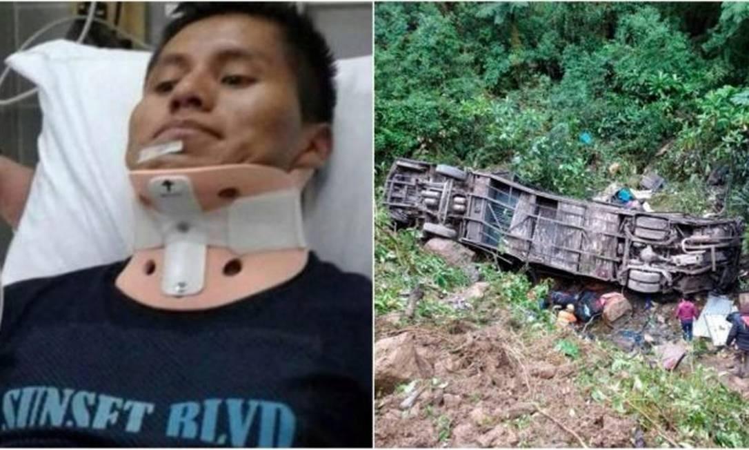 Sobrevivente da Chape estava em ônibus que despencou em barranco Foto: Reprodução
