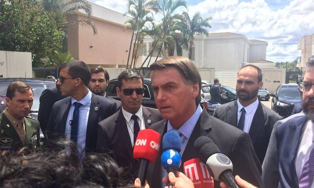 O presidente Jair Bolsonaro, após reunião com embaixadores do Golfo Pérsico Foto: Daniel Gullino/Agência O Globo
