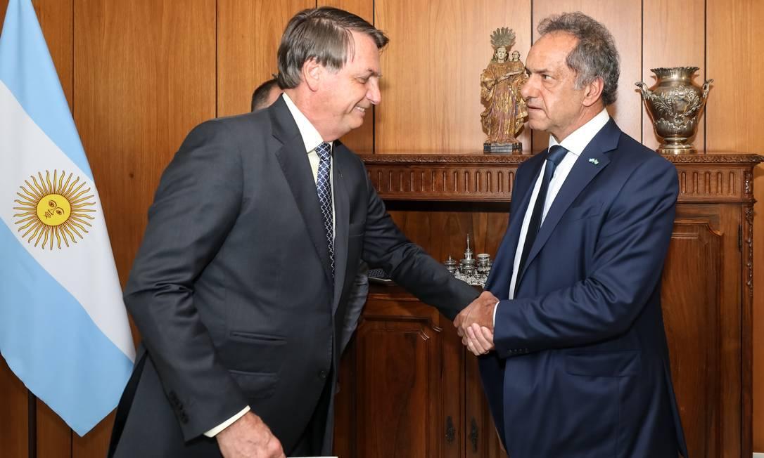 O embaixador da Argentina, Daniel Osvaldo Scioli, em encontro com o presidente Jair Bolsonaroao Foto: Marcos Corrêa/PR