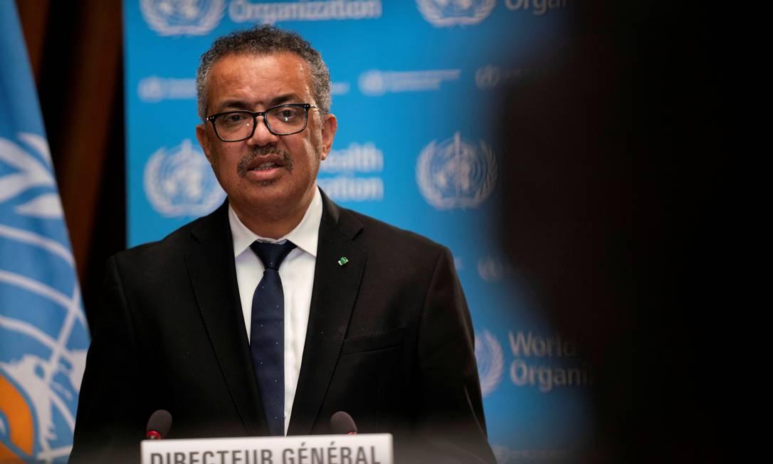Tedros Adhanom Ghebreyesus, Diretor Geral da Organização Mundial da Saúde (OMS) em Genebra, Suíça, em 18 de janeiro de 2021 Foto: Christopher Black/OMS / via REUTERS