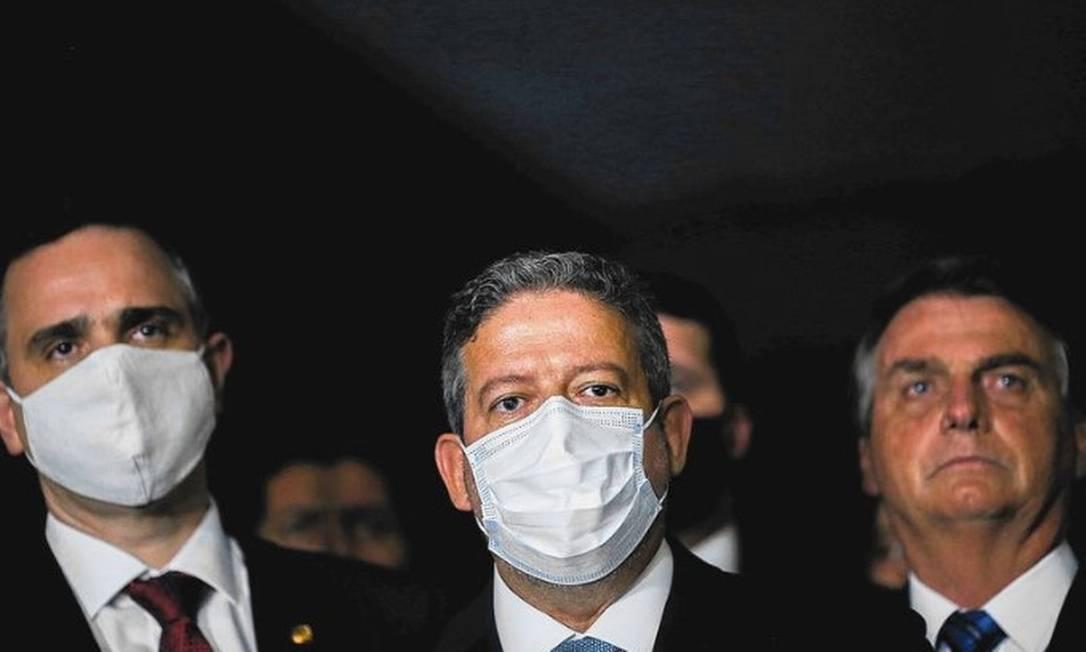 Rodrigo Pacheco, Arthur Lira e Jair Bolsonaro Foto: REUTERS/Adriano Machado