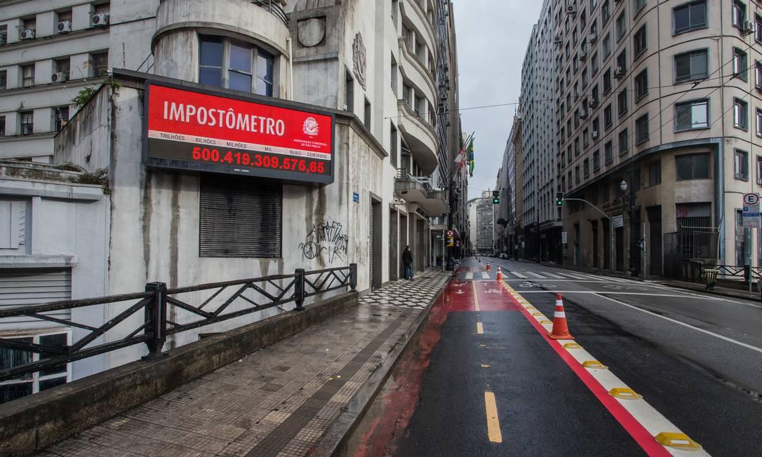 Rua Boa Vista, onde fica o impostômetro no Centro de São Paulo Foto: Edilson Dantas / Agência O Globo