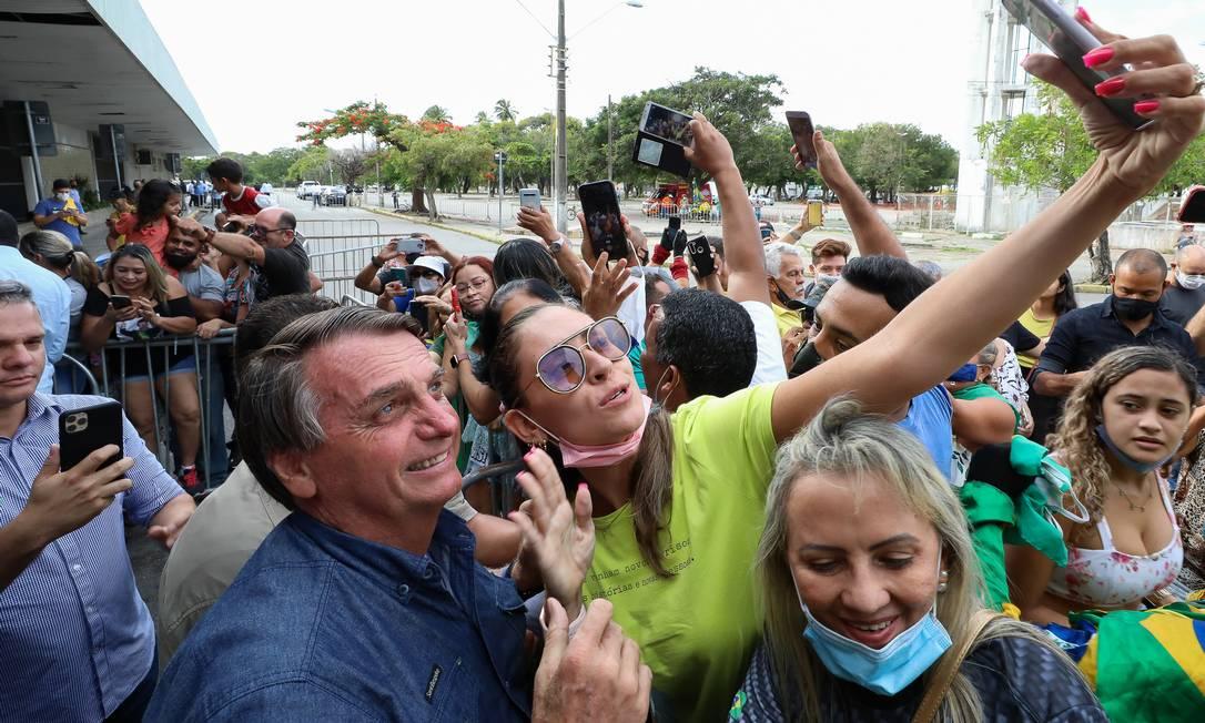 O presidente Jair Bolsonaro em agenda em fortaleza 26/02/2021 Foto: Agência O Globo