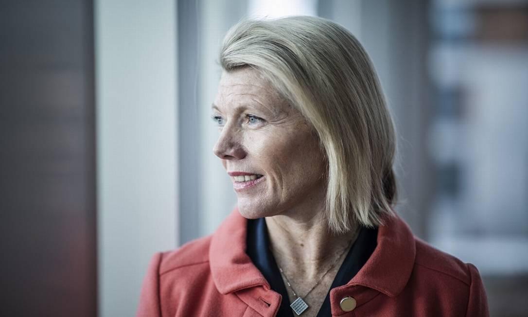 Kjerstin Braathen, presidente executiva da empresa com maior diversidade de gênero do mundo, o banco norueguês DNB ASA Foto: Odin Jaeger / Bloomberg