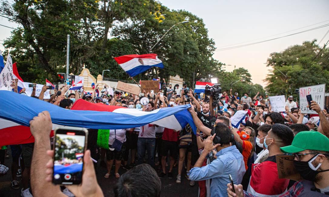 Protesto no Paraguai contra o governo de Abdo Benítez Foto: Luis Vera / Getty Images