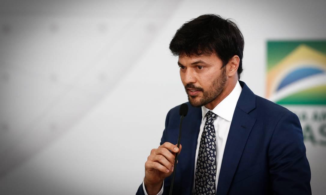 O ministro das Comunicações, Fábio Faria, em evento no Palácio do Planalto Foto: Pablo Jacob / Agência O Globo