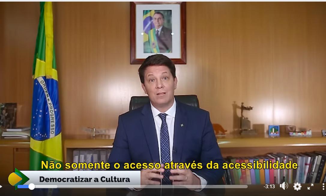 O secretário Mario Frias anuncia programa de integridade da Ancine Foto: Reprodução