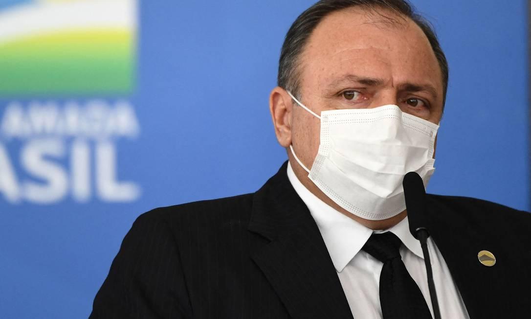 O ministro da Saúde, Eduardo Pazuello Foto: EVARISTO SA / AFP