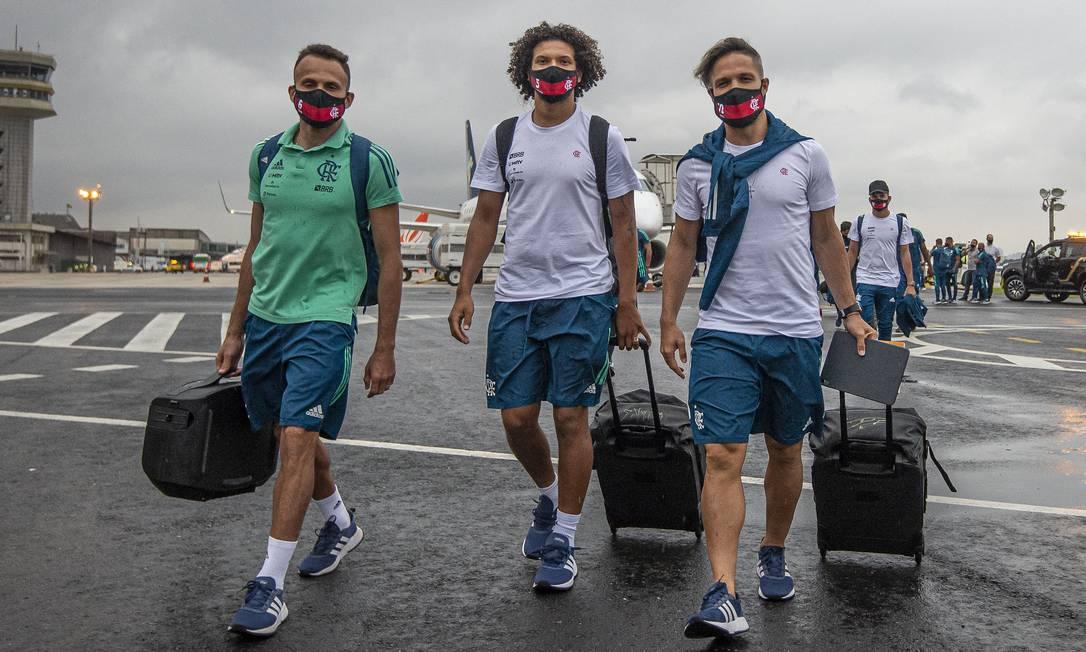 Delegação de um time grande como o Flamengo pode ter 50 pessoas por viagem Foto: Foto - Alexandre Vidal/ Flamengo / Agência O Globo