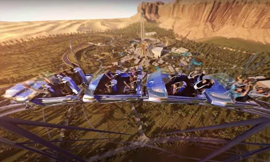 Simulação mostra como será a Falcon's Flight, projetada para ser a mais longa, mais alta e mais rápida montanha-russa do mundo, no futuro parque temático Six Flags Qiddiya, na Arábia Saudita Foto: Youtube / Qiddiya / Reprodução