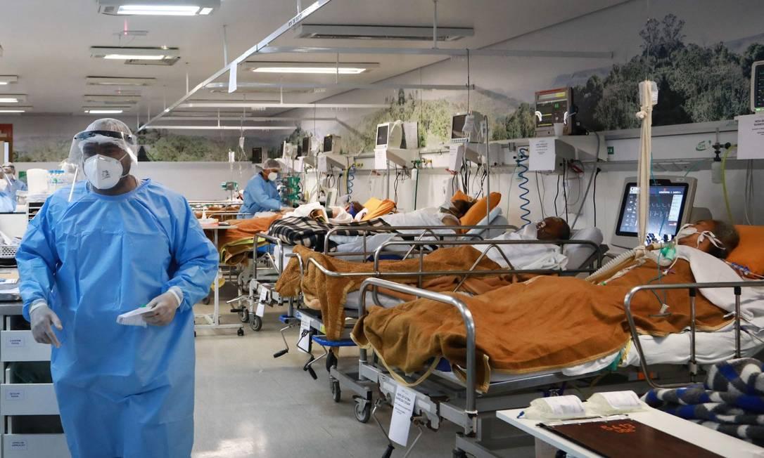 Sala de emergência de atendimento para Covid-19 do hospital Nossa Senhora da Conceição, em Porto Alegre (11/03/2021) Foto: SILVIO AVILA / AFP