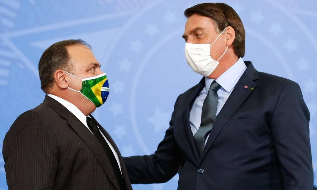O ministro Eduardo Pazuello e o presidente Jair Bolsonaro Foto: Divulgação
