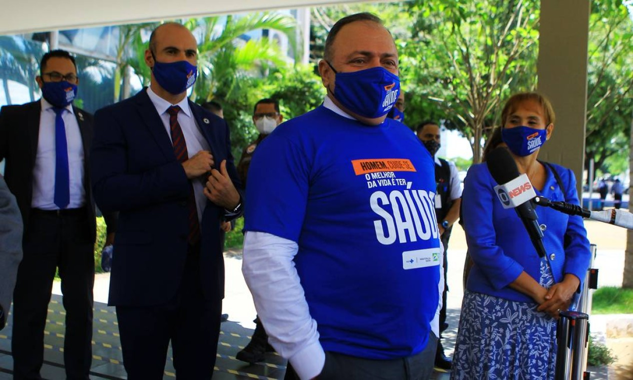 Pazuello durante lançamento da campanha Novembro Azul, que visa estimular os homens a cuidarem da saúde de forma integral, em Brasília Foto: Jorge William / Agência O Globo - 11/11/2020