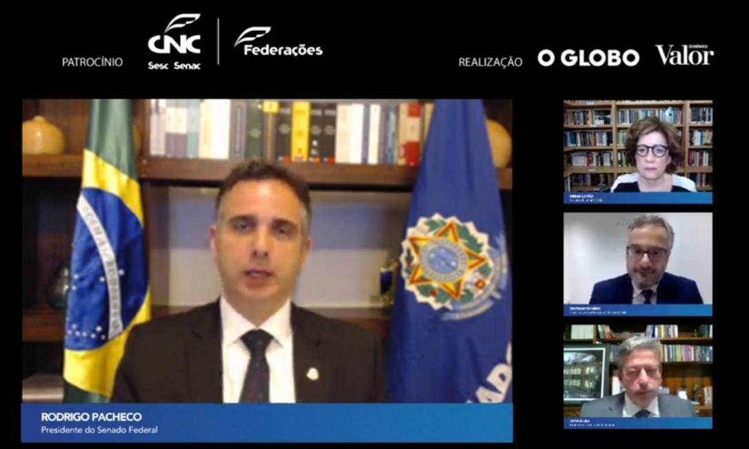 """Presidente do Senado, Rodrigo Pacheco, participa do seminário on-line """"E agora, Brasil"""", realizado pelos jornais O GLOBO e """"Valor Econômico"""" Foto: Reprodução"""