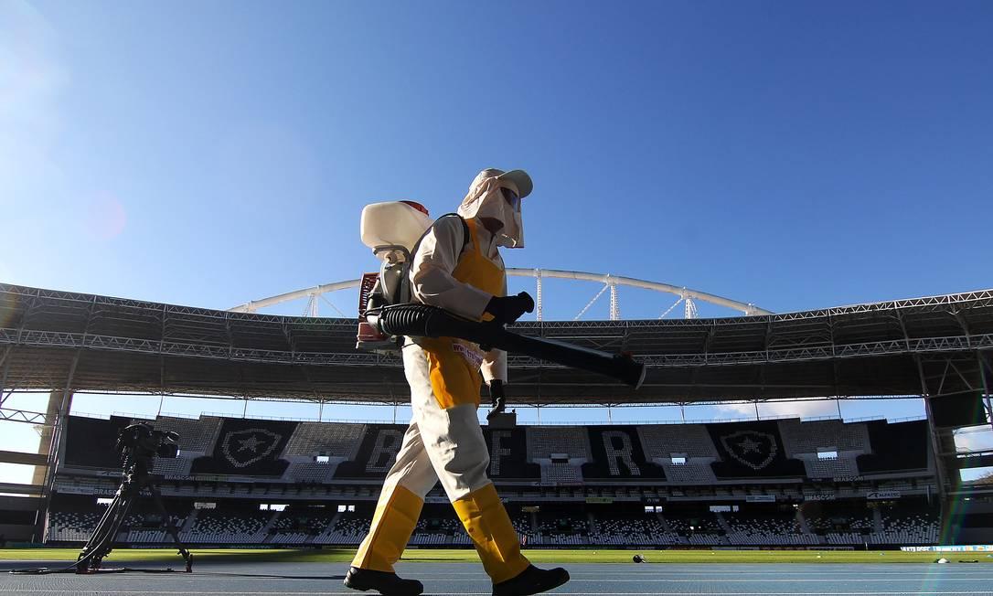Estádio Nilton Santos durante processo de higienização, em junho de 2020 Foto: Vitor Silva / Botafogo