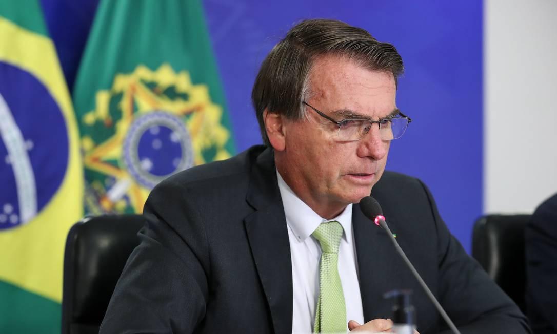 O presidente Jair Bolsonaro durante reunião virtual Foto: Marcos Corrêa/Presidência/11-03-2021