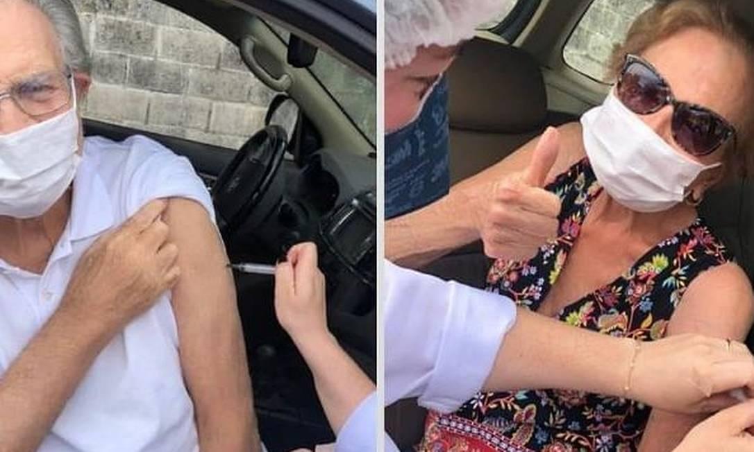 O casal de atores Tarcísio Meira, 85 anos, e Glória Menezes, 86, receberam a segunda dose da vacina contra o coronavírus, em São Paulo Foto: Reprodução / Instagram