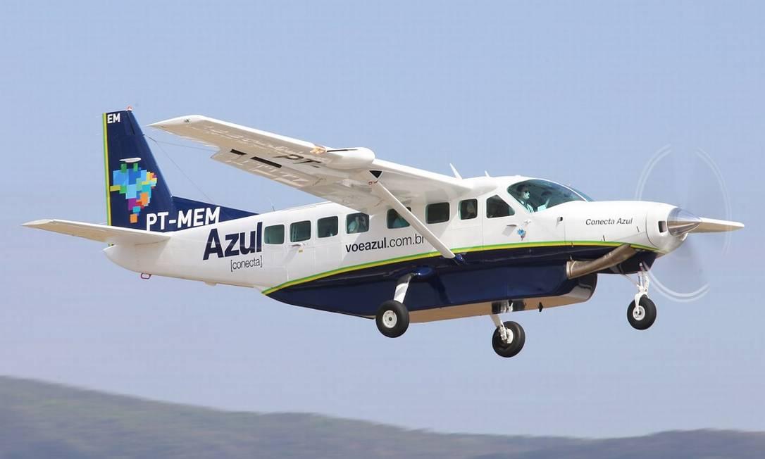 Um dos aviões modelo Cessna 208 Grand Caravan da frota da Azul Conecta Foto: Luis Alberto Neves / Azul / Divulgação