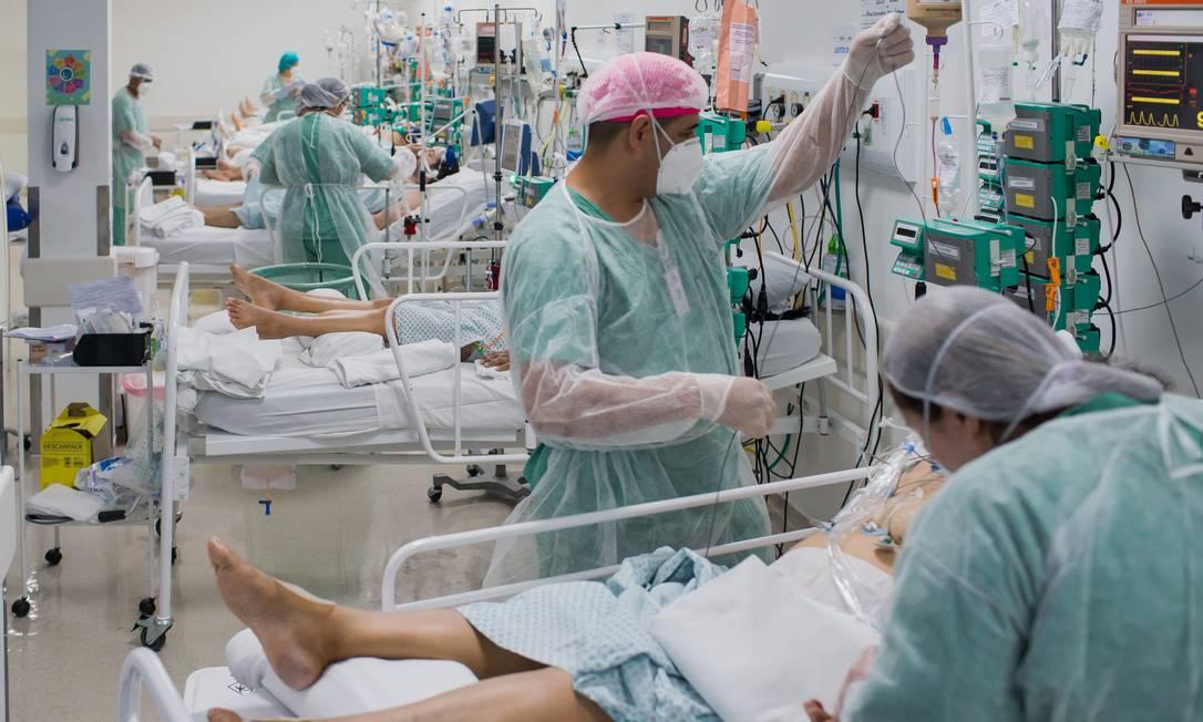 UTI do Hospital de Campanha AME Barradas, em Heliópolis, São Paulo Foto: Edilson Dantas / Agência O Globo