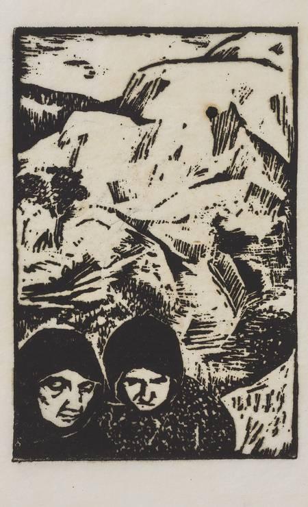 Ilustração para o livro 'Fontamara' (1945), linoleogravura sobre papel, em cartaz na Pinacoteca Foto: Acervo Pinacoteca do Estado de São Paulo