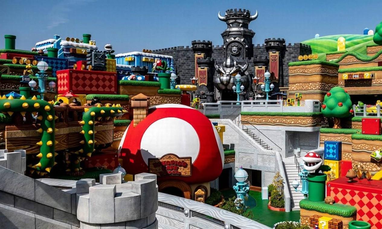 O cenário bem detalhista da nova área temática Super Nintendo World, no parque Universal Studios Japan Foto: PHILIP FONG / AFP