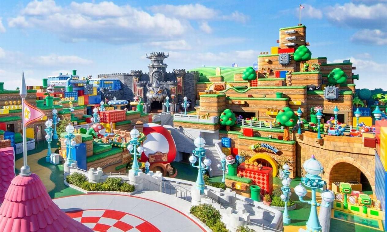 Vista geral da nova área temática Super Nintendo World, no parque Universal Studios Japan, em Osaka Foto: Divulgação