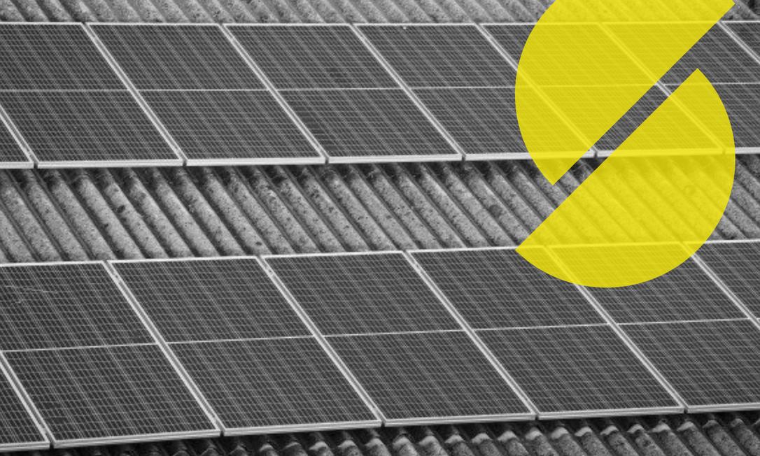 Placas fotovoltaicas no teto da Cadeg, na Zona Norte do Rio. Foto: Gabriela Fittipaldi / Agência O Globo