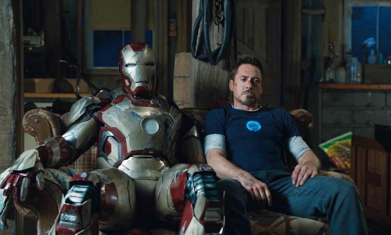 'Homem de Ferro 3' (2013): seis meses após 'Os Vingadores', Tony Stark se recupera dos transtornos causados pelo combate enquanto investiga uma organização terrorista misteriosa. Foto: Reprodução