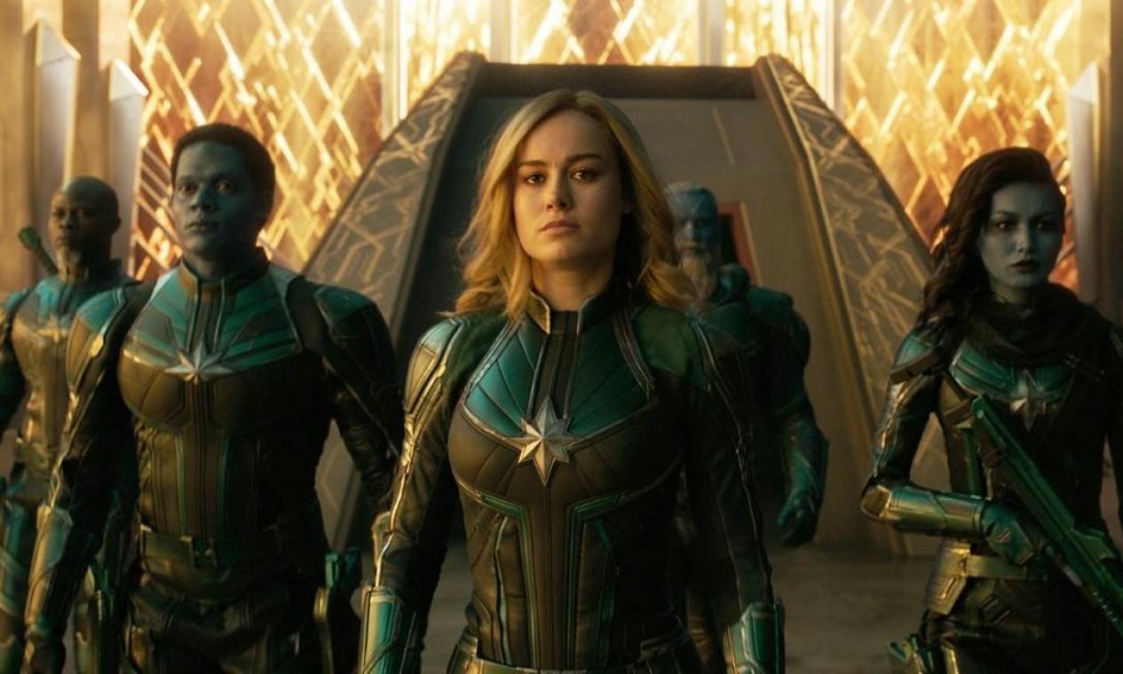 'Capitã Marvel' (2019): Em 1995, Carol Danvers se torna uma das heroínas mais poderosas do universo quando a Terra é pega no meio de uma guerra galáctica entre duas raças alienígenas. Foto: Reprodução
