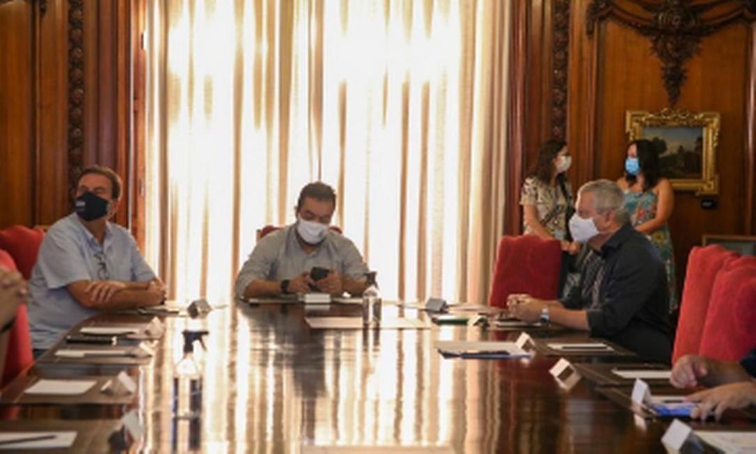 Reunião dos prefeitos do Rio e Niterói, Eduardo Paes e Axel Grael, com o governador do estado, Cláudio Castro Foto: Instagram @axelgrael / Reprodução
