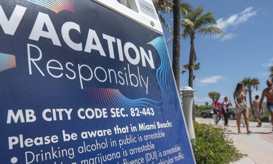 'Férias com responsabilidade' é o slogan da cidade de Miami Beach para o 'spring break' Foto: EPA